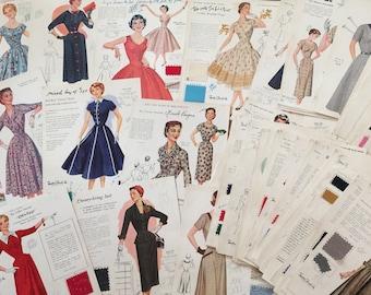 Vintage 1950s Fashion Frocks Illustrations PDF - Salesman Sample Cards Collection 80+ - INSTANT DOWNLOAD