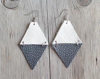 Grey and white Geometric Leather Earrings, neutral triangle earrings, arrow earrings, boho tribal earrings, gift for her