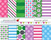 SALE Soccer Girls Cute Digital Papers Backgrounds for Personal and Commercial Use, Soccer Patterns Soccer Backgrounds