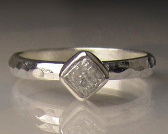 Raw Diamond Ring, Rough Diamond Engagement Ring, Palladium Sterling Silver, Rough Diamond Cube Ring, Hammered Raw Diamond Ring