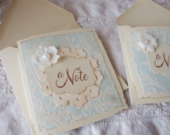 Note cards set shabby chic distressed blank card for friend greeting cards paper supplies