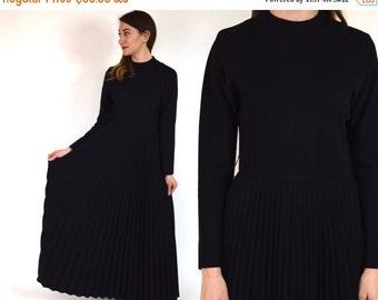 SummerS SALE 70s Black Wool Maxi Dress | Long Sleeve Pleated Dress, Small