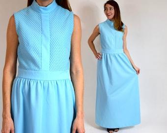 70s Sky Blue Maxi Dress | Sleeveless Party Dress, Medium