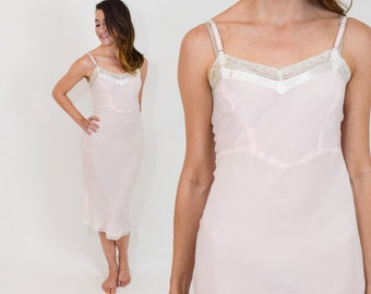 50s Pink Slip   Blush Rayon Slip Lingerie Nightgown   Extra Small