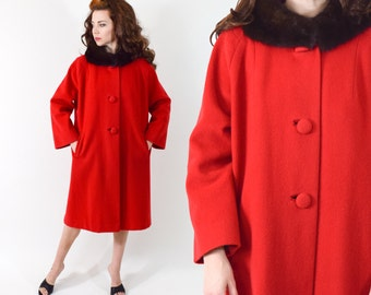 60s Red Wool Coat | Mink Fur Collar Coat | Winter Coat, Large