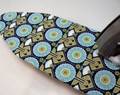Ironing Board Cover TABLE TOP - aqua olive navy and white flowers and fans