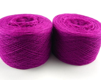 Bright mauve color lace weight merino yarn for lace knitting or Haapsalu shawl knitting, measure 2/28, 100 grams (1526yard)