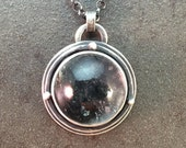 Quartz with Inclusions Cabochon Sterling Silver Metalwork Metalwork Necklace Pendant