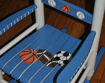 Children's Rocking Chair-Sports-Kid's Rocking Chair-Baby Shower Gift-Nursery Furniture-Hand Painted-Rocker-Chair-Baseball-Football-Soccer