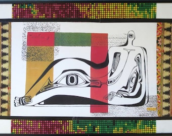 DORR BOTHWELL Paper Collage 1946 MIDCENTURY Abstract African Fabric Pattern