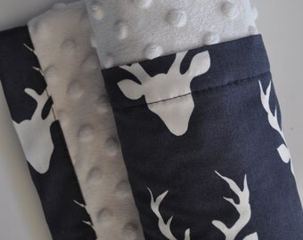 Organic Baby Boy Infant Toddler Minky XLARGE Snuggle Blanket, Navy Blue Deer Stag and Minky