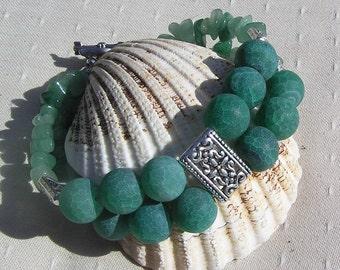 "Frosted Green Agate & Green Aventurine Crystal Gemstone Bracelet ""Ellie"", Green Bracelet, Aventurine Bracelet, Chakra Bracelet, Libra"