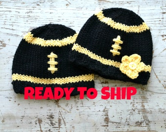 Black Yellow Football Beanie, Girls or Boys Black Yellow Newborn Hat, Knit, Single Hat or Twin Set, Great Gift or Photo Prop, Ready To Ship