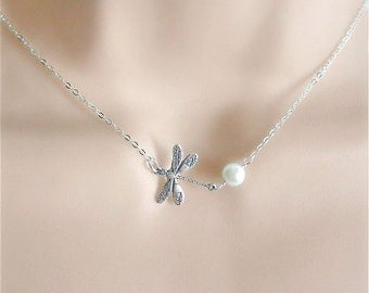Silver Dragonfly Necklace , Personalized Birthstone -Pearl with Dragonfly Necklace,  Dragonfly Charm Necklace
