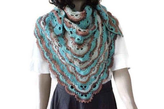 Triangle Crochet Shawl - Virus Shawl - Handmade Shawl - Casual Shawl ...