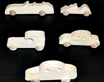 Pkg of 5 Handcrafted Wood Toy Cars, Race Car  OT- 15 unfinished or finished