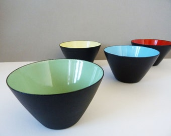 4 enamel and metal bowls from Merker SA Baden Switzerland