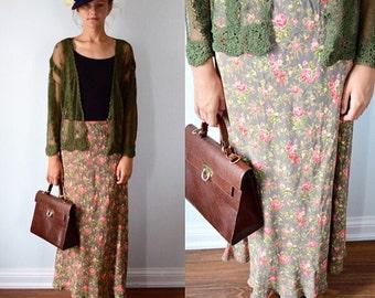 Vintage Floral Skirt, Vintage Maxi Skirt, Vintage Tea Length Skirt, 1980s Skirt, April Cornell, Casual Skirt