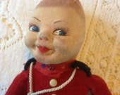 Vintage 1930s Norah Wellings' Royal Canadian Mounted Police Doll He has lost his hat.