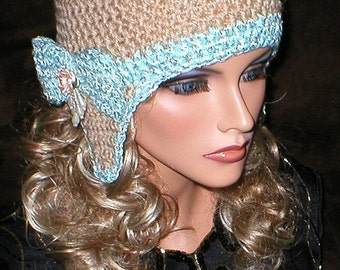 35 % OFF SALE Crochet Women Gold Metallic Beige Mint Varicose Teardrop Floral Bow Ear Flap Hat Snowboard Hat