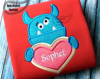 Monster heart cookie applique
