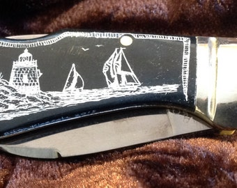 Bone Knife-Colt with Blade Lock-Original Scrimshaw-Titanium Coated Blade