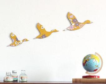 Trio of Flying Ducks – Retro Mustard Flowers - Homewares - Housewarming Present - Wall Art - Ready to Hang - Plywood Plaques