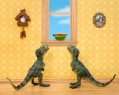 T. Rex twins diorama art print for kids and kitchens: Primordial Pie