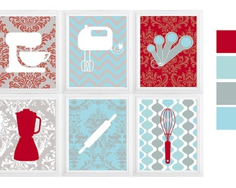 Kitchen decor,kitchen baking print, wine poster,kitchen wall art, Set of (6) Prints Personalize Colors Utensils and Bowls with Chevrons
