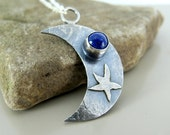 Silver pendant, sterling silver jewelry, moon pendant, silver crescent, silver moon, gemstone necklace, lapis lazuli pendant, moon necklace