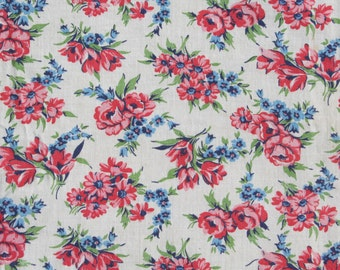 Vintage Feedsack Floral Feed Sack Flour Sack Fabric Pink Roses Tulips Blue 37 x 46 inches