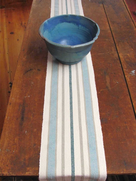 Rustic French Country Cottage Farmhouse Home Decor Table Runner, Seaside Coastal Beach Decor Hand Woven Cream Beige Turquoise Emerald Stripe