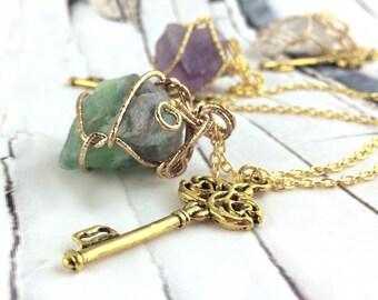 Gold Key Necklace - Rainbow Fluorite Necklace - Antique Key Necklace - Key Pendant - Long Skeleton Key Necklace Raw Crystal Necklace 30 inch