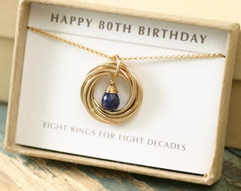 80th birthday gift for mother, sapphire necklace mom, September birthstone jewelry for grandma, 8th anniversary gift for her - Lilia