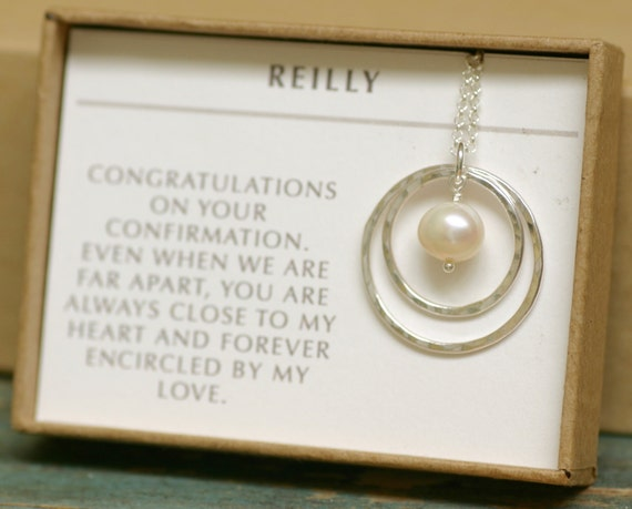 Gift For Goddaughter Birthstone Necklace Sterling By: Confirmation Gift For Goddaughter Pearl Necklace For