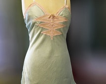 SALE Vintage 1930s slip/1930 lingerie/step in teddy/silk and lace slip/green silk underwear/green silk slip/Art Deco slip/burlesque lingerie