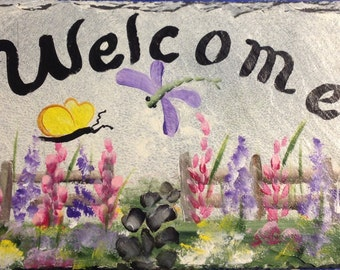 hand painted GARDEN GATE slate welcome sign plaque, UV resistance, personalized sign