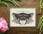 Spring Wedding, Boho Wedding Invitation, Save the Date, Save the Postcard, Save the Dates, Vintage Style Save the Date, Art Nouveau Wedding