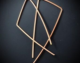 Gold Geometric Earrings . Gold Triangle Hoop Earrings. 2 Inch Earrings. Gold Dangle Earrings. Wire Earrings. Nickel Free