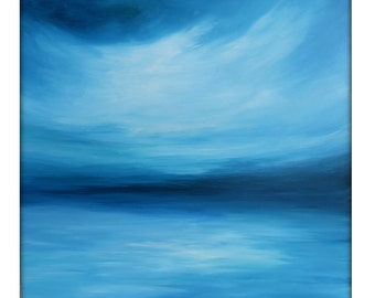 Large Abstract Painting on Canvas Modern Acrylic Skyline- 36x36- Blues, Blue-Green, White