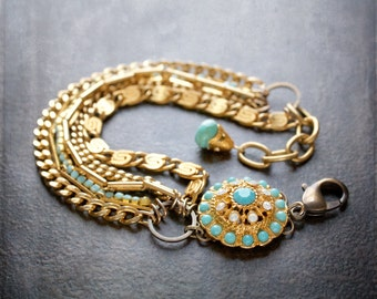Vintage Turquoise and Opal Rhinestone Dome Bracelet with Vintage Gold Chains and Turquoise Rhinestone Chain