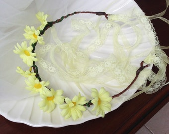 Daisy and Lace Floral Hair Wreath/Crown
