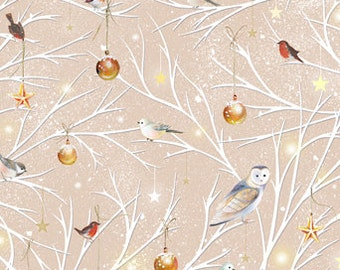 Woodland Wonder from Quilting Treasures - Full or Half Yard Winter Branch Toss Owls and Birds, Ornaments on Branches in Lt Khaki