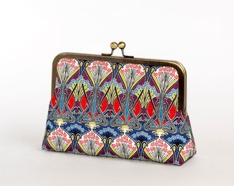 Sale-Art Nouveau Ikat Liberty of London Print clutch in Silk lining / wedding / party/ evening clutch / by Bag Noir