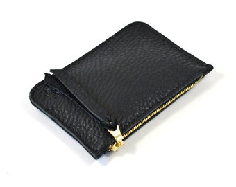 Black Leather Zip Pouch Purse Wallet Handmade