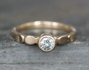 Moissanite Engagement Ring - Solid 14K Gold Pebble Band - 4mm Ethical Gemstone (Size 3 - 9) - Recycled Eco Metal - Diamond  Alternative