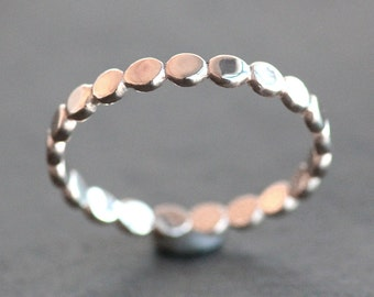 Solid 10K ROSE Gold Pebble Band - 2.5mm Wide Wedding Ring (Size 3 - 9) - Recycled Eco Metal