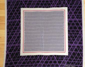 Vintage 1980s Hanae Mori Japanese Silk Scarf