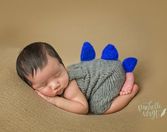 Newborn Photography Prop Knit Dino Romper - Knit Romper - Knit Romper with Straps - Dinosaur - Photography Prop
