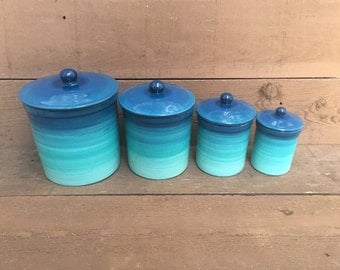 One of a Kind Set of 4 Teal Ombre Ceramic Canister Set with Rubber Seals - Bright Colorful Gradient Design - Shades of Turquoise